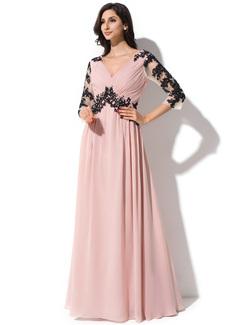 A Line Princess V Neck Floor Length Chiffon Evening Dress