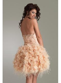 Corte A/Princesa Escote corazón Hasta la rodilla Organza Satén Vestidos de baile de promoción With De encaje Bordoneado (018005061)
