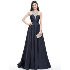 Ball-Gown Halter Floor-Length Taffeta Prom Dress With Beading Sequins
