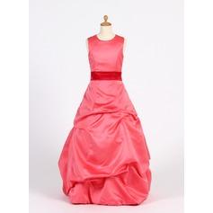 A-Line/Princess Scoop Neck Floor-Length Satin Junior Bridesmaid Dress With Ruffle Sash