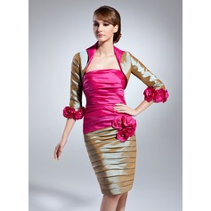 Sheath/Column Strapless Knee-Length Taffeta Mother of the Bride Dress With Ruffle Beading Flower(s)