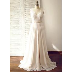 A-Line/Princess V-neck Court Train Chiffon Wedding Dress (002104627)