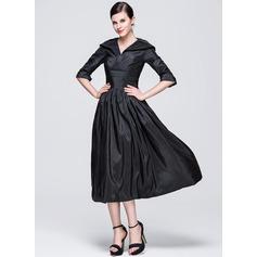 A-Line/Princess V-neck Tea-Length Taffeta Holiday Dress With Ruffle (020036602)
