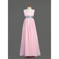 Empire Square Neckline Floor-Length Chiffon Junior Bridesmaid Dress With Sash