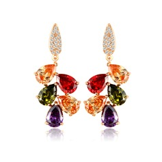 Colourful Zircon/Rose Gold Plated Ladies' Earrings