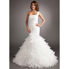 Trumpet/Mermaid One-Shoulder Court Train Organza Wedding Dress With Cascading Ruffles