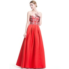 A-Line/Princess Sweetheart Floor-Length Satin Evening Dress With Beading Sequins