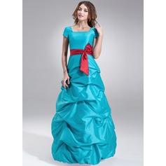 A-Line/Princess Square Neckline Floor-Length Taffeta Bridesmaid Dress With Ruffle Sash Bow(s)