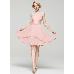 A-Line/Princess Scoop Neck Knee-Length Chiffon Cocktail Dress With Cascading Ruffles