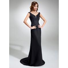 Sheath/Column V-neck Sweep Train Chiffon Evening Dress With Ruffle Beading