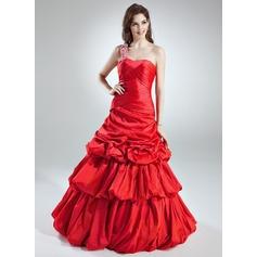 A-Line/Princess One-Shoulder Floor-Length Taffeta Quinceanera Dress With Ruffle Beading