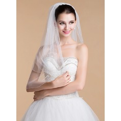 Two-tier Sequin Trim Edge Elbow Bridal Veils With Sequin