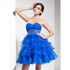Empire Sweetheart Short/Mini Organza Homecoming Dress With Beading Cascading Ruffles