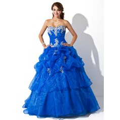 Ball-Gown Sweetheart Floor-Length Organza Quinceanera Dress With Ruffle Appliques Lace Sequins