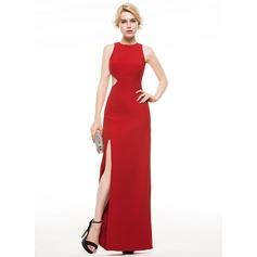 Sheath/Column Scoop Neck Floor-Length Satin Evening Dress With Split Front