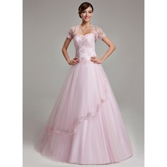 Ball-Gown Sweetheart Floor-Length Tulle Quinceanera Dress With Ruffle Beading Appliques Lace (021003140)