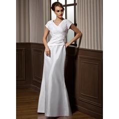 Trumpet/Mermaid V-neck Floor-Length Taffeta Bridesmaid Dress With Ruffle