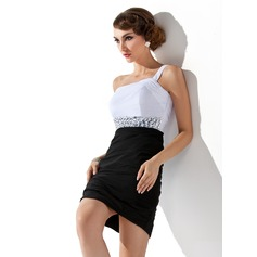 Sheath/Column One-Shoulder Short/Mini Chiffon Homecoming Dress With Ruffle Beading