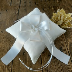 Square Ring Pillow in Satin With Ribbons