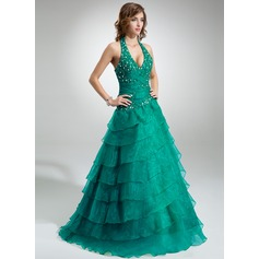 Ball-Gown Halter Floor-Length Organza Quinceanera Dress With Ruffle Beading Appliques Lace Cascading Ruffles