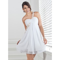 Empire One-Shoulder Short/Mini Chiffon Homecoming Dress With Ruffle Beading Appliques Lace