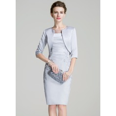 Sheath/Column Scoop Neck Knee-Length Satin Mother of the Bride Dress With Ruffle Appliques Lace