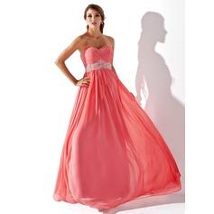 Empire Sweetheart Floor-Length Chiffon Prom Dress With Ruffle Beading