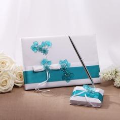 Flowers Design Bow Guestbook & Pen Set