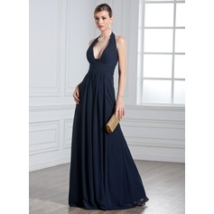 A-Line/Princess Halter Floor-Length Chiffon Evening Dress With Ruffle