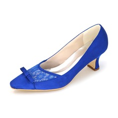 Women's Lace Satin Low Heel Closed Toe With Stitching Lace