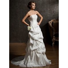A-Line/Princess Strapless Court Train Taffeta Wedding Dress With Ruffle Lace Beading
