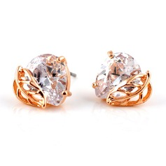 Stylish Zircon/Gold Plated Women's Earrings