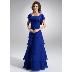 A-Line/Princess Square Neckline Floor-Length Chiffon Mother of the Bride Dress With Ruffle Beading Cascading Ruffles