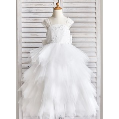 Ball Gown Floor-length Flower Girl Dress - Tulle/Lace/Sequined Straps With Bow(s)/Rhinestone/V Back