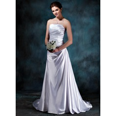 A-Line/Princess Strapless Sweep Train Charmeuse Wedding Dress With Ruffle