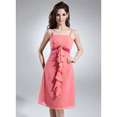 Empire Knee-Length Chiffon Bridesmaid Dress With Beading Cascading Ruffles