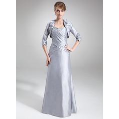 Sheath/Column Sweetheart Floor-Length Taffeta Mother of the Bride Dress With Ruffle Beading Sequins