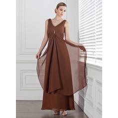 Empire V-neck Ankle-Length Chiffon Bridesmaid Dress With Beading Cascading Ruffles