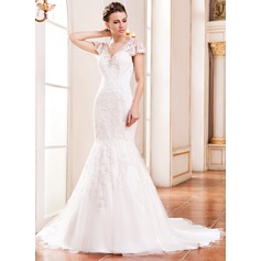 Trumpet/Mermaid V-neck Court Train Lace Wedding Dress With Beading Sequins
