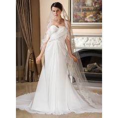 A-Line/Princess Sweetheart Watteau Train Chiffon Wedding Dress With Ruffle Lace Beading
