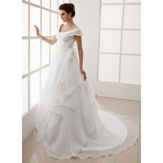 A-Line/Princess Off-the-Shoulder Chapel Train Organza Wedding Dress With Ruffle