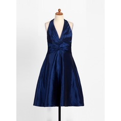 A-Line/Princess Halter Tea-Length Taffeta Junior Bridesmaid Dress With Ruffle