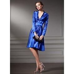 A-Line/Princess V-neck Knee-Length Charmeuse Cocktail Dress With Ruffle Bow(s)