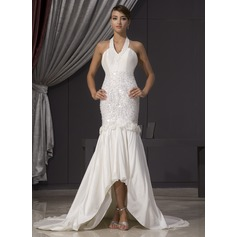 Trumpet/Mermaid Halter Asymmetrical Taffeta Wedding Dress With Beading Flower(s) Sequins