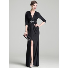 Sheath/Column V-neck Floor-Length Jersey Mother of the Bride Dress With Ruffle Beading Sequins Split Front