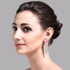 Charming Copper/Zircon/Platinum Plated Ladies' Earrings