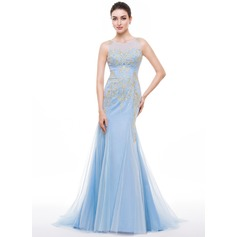 Trumpet/Mermaid Scoop Neck Sweep Train Tulle Prom Dress With Embroidered