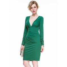 Sheath/Column V-neck Knee-Length Jersey Cocktail Dress With Ruffle