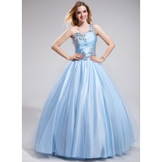 Ball-Gown One-Shoulder Floor-Length Charmeuse Prom Dress With Ruffle Beading