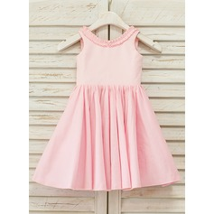 A-Line/Princess Knee-length Flower Girl Dress - Cotton Sleeveless V-neck With Ruffles